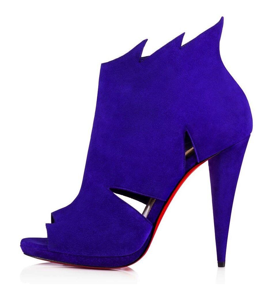 Christian Louboutin belfeconica 120 Violet Pop Bout Ouvert Découpe Bottes Bottes Bottes Chaussures 38 6cf5c4