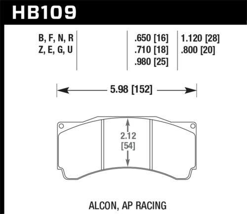 HB109N.710 Hawk Alcon Ta-6 Ap Racing Cp5060-2//3//4//5St Ap Racing Cp5555 //