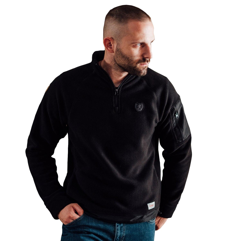 PG Wear Fleece Pullover Iceberg schwarz Sweatshirt Raglan-Schnitt Stehkragen