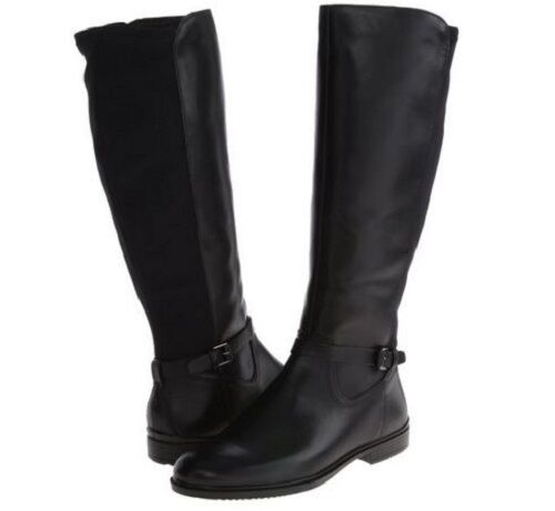 NEW Ecco Touch 15 B Women Knee High Strap Leather Boot Black Size US 7.5