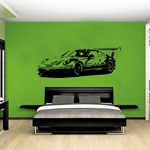Xl large car porsche 911 gt3 race bedroom graphic wall art decal sticker ebay - Porche da letto ...