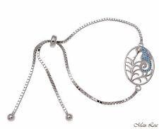 Silver 925 Blue Topaz Hawaiian Seahorse Sliding Adjustable Bead Chain Bracelet