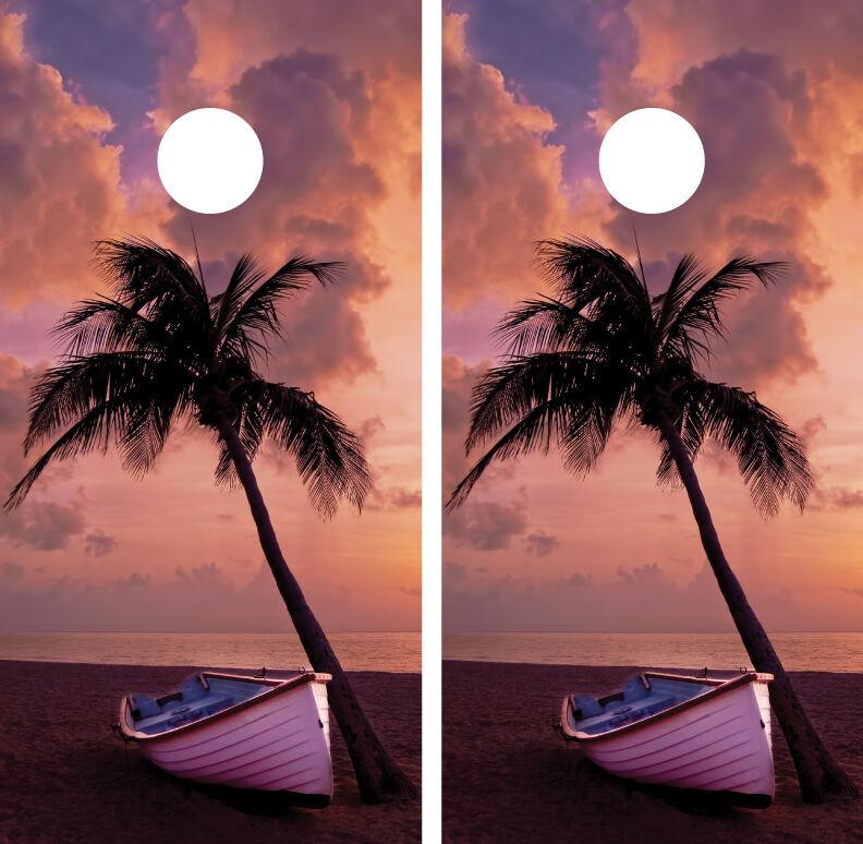 Beach Palm Tree Boat Sunset Cornhole Board Decal Wrap Wraps