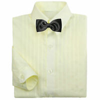 Baby Boy Formal Tuxedo Suit Ivory Button Down Dress Shirt Black Bow Tie 0-7