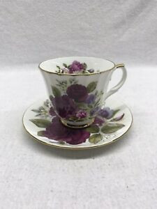 Duchess-Fine-Bone-China-Cup-And-Saucer-Roses-Floral-Purple