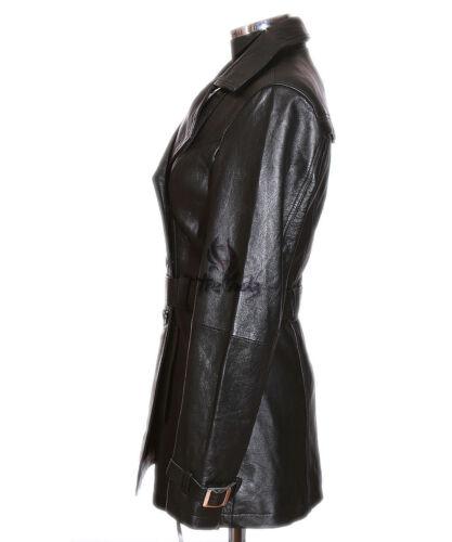 Trench Black Real Leather Classic Coat Jacket Length Lambskin Hip Paris Ladies 4P6ZSqZ