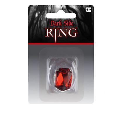 Simbolo Del Marchio Adulti Gotico Rosso Gioiello Gem Ruby Vampiro Dracula Halloween Argento Anello Gioielli-mostra Il Titolo Originale
