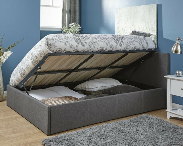 Swell Grey Fabric End Or Side Lift Ottoman Gas Lift Bed 3Ft 4Ft 4Ft6 5Ft Built Storage Onthecornerstone Fun Painted Chair Ideas Images Onthecornerstoneorg
