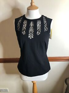 BNWT-Karen-Millen-UK-12-Black-Lace-Embroidered-Blouse-Top-Party-Evening-Body-Con