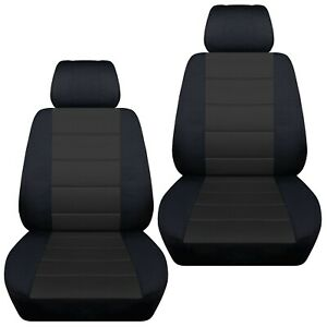 Fits-2007-2013-Mazda-2-front-set-car-seat-covers-black-and-charcoal