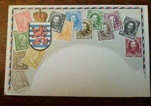 LUXEMBERG-DEI-Old-Stamps-National-Series-Ottmar-Zieher-Stamps-Postcard-UNUSED