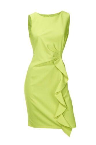 PATRIZIA DINI Designer Etuikleid Volant limette Gr.34 bis 46 kleid Sixties-Look