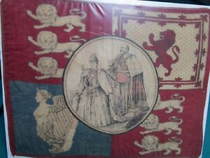 1920S KING GEORGE V AND QUEEN MARY RED SCARF WITH ENGLISH EMBLEMS [*ART]
