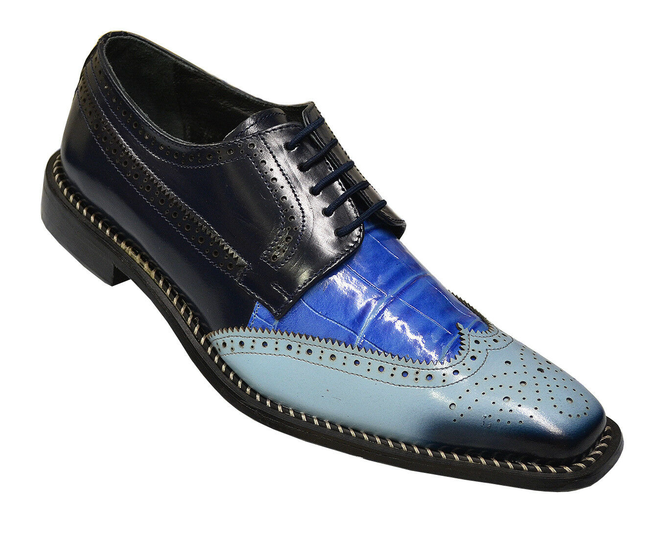 Liberty Bruno Light Blue/Ocean/Navy Alligator Print Wingtip Scarpe Taglia 8.5
