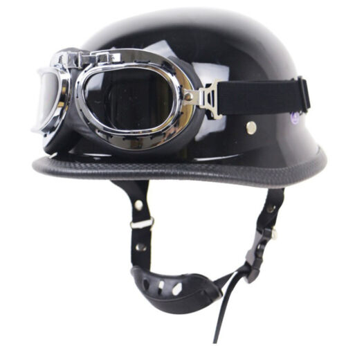 DOT German Motorcycle Helmet Half Open Face w//Pilot Goggles for Chopper Scooter