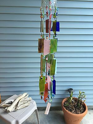 Wind Chime Sun Catcher Stained Glass Wine Bottle. Rustic Garden Art! *Reduced*