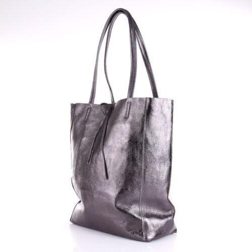 Metallic Glitzer Lack Tasche Ital Leder A4 Schwarz Shopper Gross Borse Pelle NEU