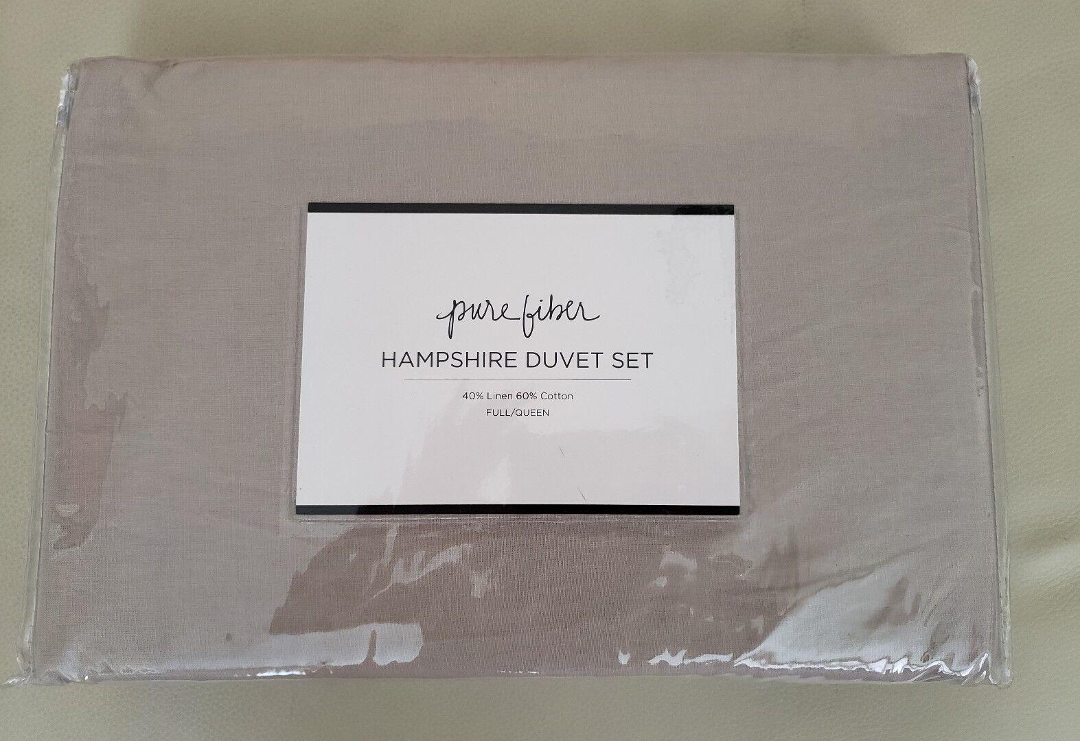 PURE FIBER Hampshire Linen Cotton Blend Duvet Set Grant Beige F Q  200