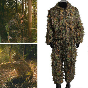 Leaf-Ghillie-Suit-Woodland-Camo-Camouflage-Clothing-Set-3D-jungle-Hunting-M-L-XL