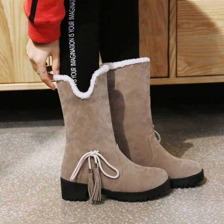 Ladies Two Wear Faux Suede Fur Lined Warm Winter Block Heels Ankle Boots shoes