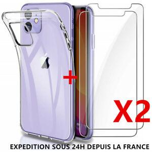 Housse-2-Vitre-Verre-Trempe-iPhone-11-Pro-Max-X-XR-6S-7-8-Plus-Coque-Silicone