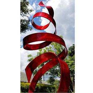 Large Blue Outdoor Yard Sculpture Modern Abstract Metal Art Decor By Jon Allen