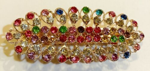 Gold Pink Leaf Design Hair Barrette crafted with Rhinestones in Colors of Blue