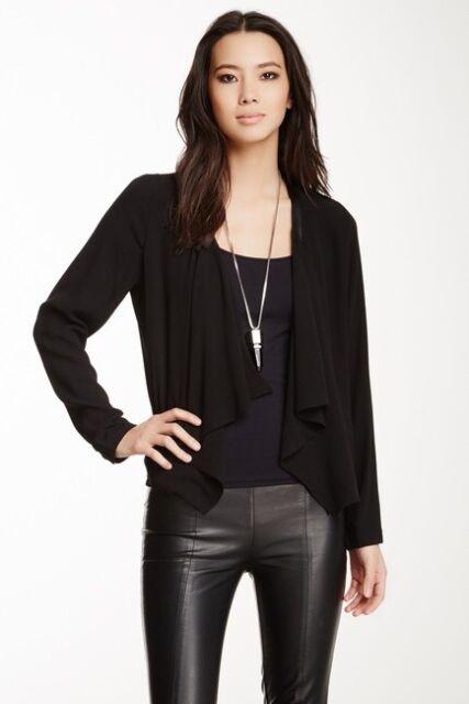Eileen Fisher Black Wool Kimono Open Front Cardigan Sweater sz Medium