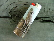 Bronze Howling Wolf Bic Lighter Case