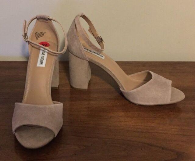 35c66c34882 Steve Madden Mirna Beige Suede Ankle Strap Sandal Block Heel Size 10 NWOB