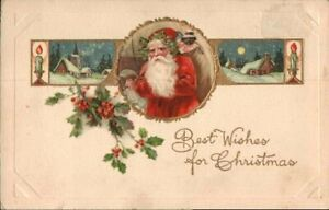 Antique-Christmas-Postcard-Winsch-Back-Santa-Jester-Doll-amp-Black-Doll-ca-1908