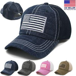 fb32c2fba62 Image is loading USA-American-Flag-Pigment-Baseball-Cap-Mesh-Tactical-