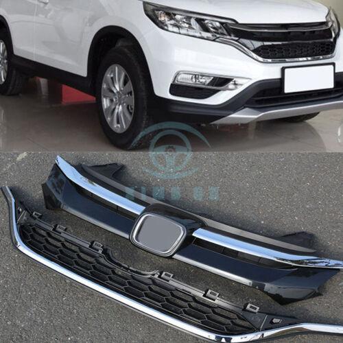 Chrome Front Bumper Upper+Lower Grille Moding Trim For Honda CRV CR-V 2015-2016