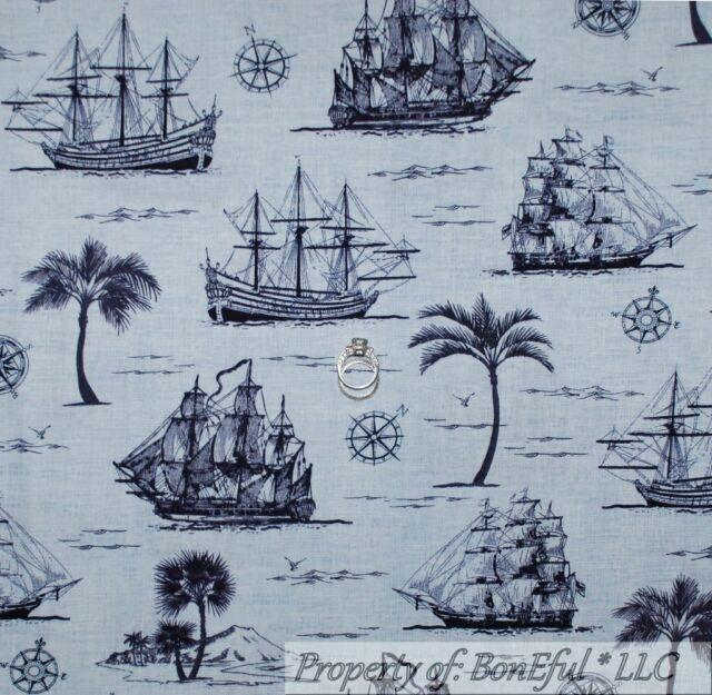 BonEful Fabric FQ Cotton Quilt Navy Blue Sail Boat Beach Sea Ship Palm Tree Tone