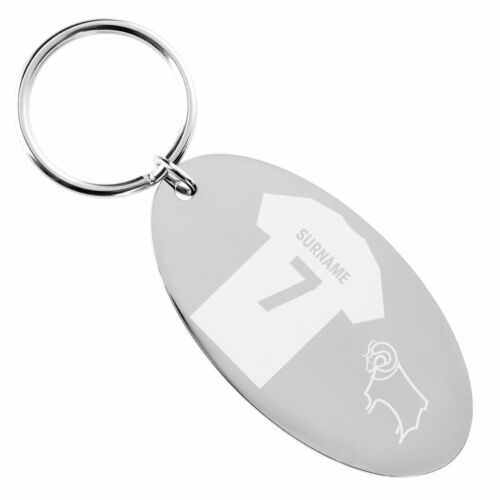 Personalised Engraved Derby County Football Club FC Oval Keyring Gift