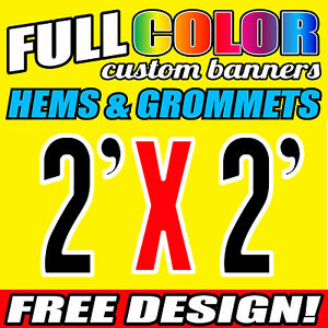 Custom 2' x 2' FT Banner 16oz Vinyl/Flex Outdoor premium Quality Advertise Sign