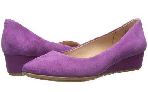 Easy Spirit Avery wedge pumps dark pink purple suede Leder 8.5 Med NEU