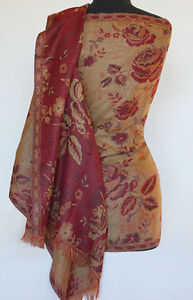 Festive-Red-amp-Gold-Reversible-Wool-Jacquard-Shawl-Jamavar-Wrap-India-Stole