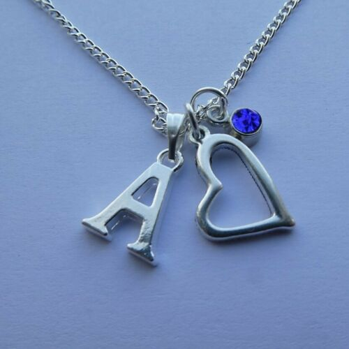 "Birthstone September Heart Silver Plated Initial Letter 20/"" Necklace A to Z"
