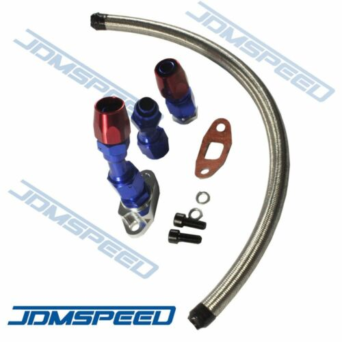 JDMSPEED New Stainless Braided Turbo Charger//Turbo 17 Oil Return Drain Line 10An Fitting Kit