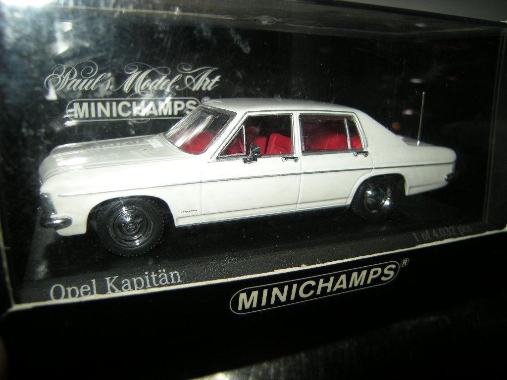 1 43 Minichamps Opel Kapitän Kapitän Kapitän 1969-77 white weiss Nr. 430046000 OVP 0a5635