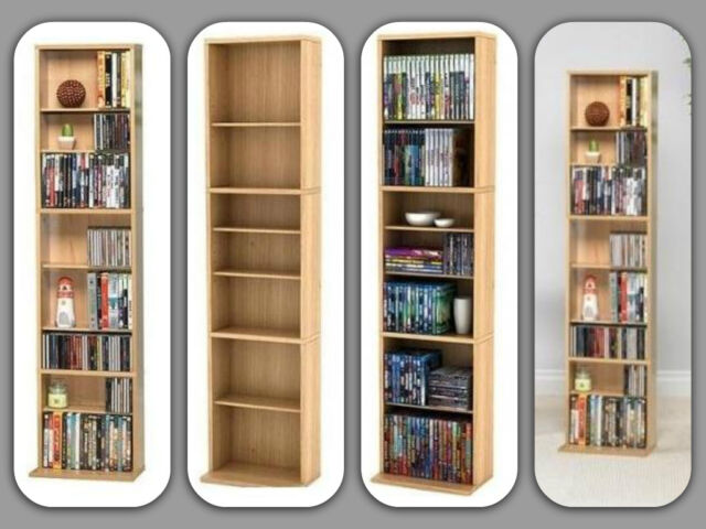 Bookcase 7 Shelf Bookshelf Furniture Shelves Wood Storage Shelving Multimedia