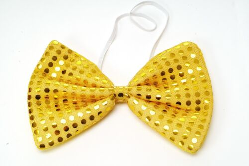 Bow Tie Large Crown Fly Bowtie Gold Yellow Glitter Sequins Giant Bow Tie VQ-029