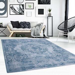 Tapis Poil Ras Ornement Oriental Bleu Moderne Salon | eBay