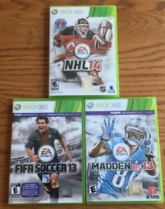 Xbox 360 Sports Game Bundle Lot Of 3 Madden 13 FIFA 13 NHL 14 Clean Discs