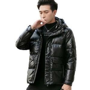 Mens Shiny Duck Down Puffer Jacket Fur Hooded Loose Parka Warm Coat Outwear New