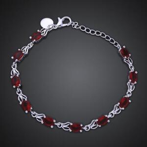 ASAMO-Damen-Armband-mit-roten-Steinen-925-Sterling-Silber-plattiert-A1350
