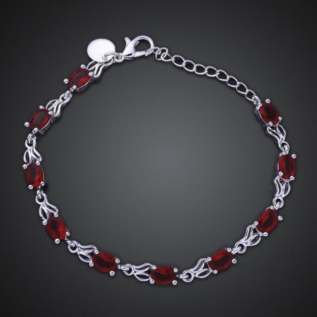 ASAMO Damen Armband mit roten Steinen 925 Sterling Silber plattiert A1350