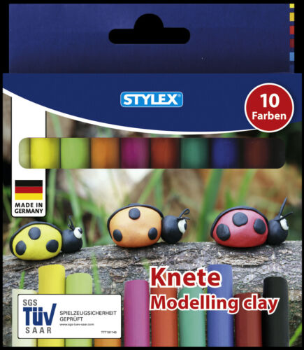 10 Stangen farbig Knete Modelliermasse Standardfarben Kinderknete Knetmasse !