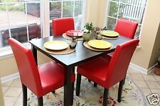 5pc Espresso Dining Room Kitchen Set Table & 4 Red Parson Chairs 5 piece Dinette